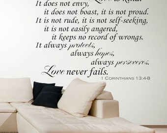 Bible Verse Wall Decal - Wall Decals for the Home - Love is Bible Verse - Vinyl Wall Decal- Corinthians Verse - Love Is Patient Love is Kind