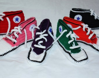 Adult High Top Sneaker  Crochet Slippers, Mens Slippers, Ladies slippers,Converse Style. Available in Any Color. 3 Sizes to Choose From.