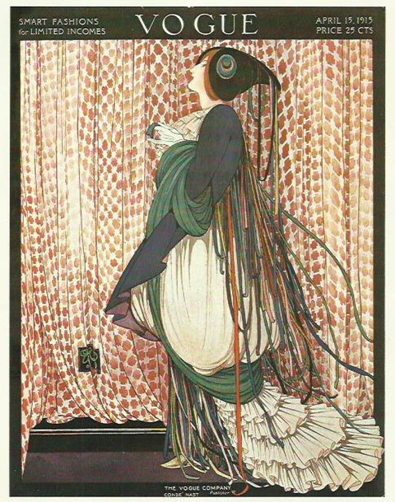 Vogue magazine cover 1915 By George Plank Lady Dress Curtains