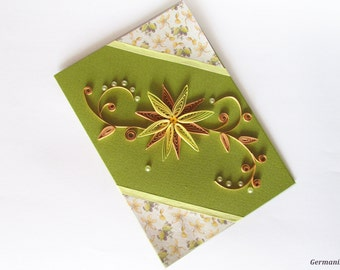 Mother's Day Card, Blank Birthday Card, Flower Quilling Greeting Card, Anniversary Card, Girlfriend Card