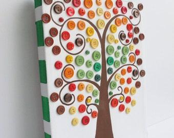 Button Tree, Canvas, 8x10