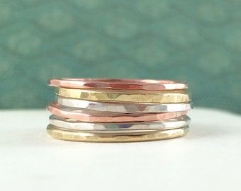 Thin Mixed Metals Stacking Rings. Skinny Mixed Metal Rings. Stackable Rings in Sterling Silver, Brass, and Copper.