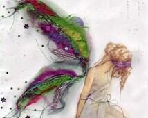 Fabric Faerie A4 Print/Faerie Print/Fairy art/Handcrafted Textile/Healing art/Faerie art/Peaceful Fairy/Sitting Fairy/Art Print