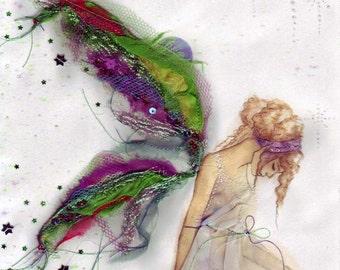 Fabric Faerie Small Print/Faerie Print/Fairy art/Handcrafted Textile/Healing art/Faerie art/Peaceful Fairy/Sitting Fairy/Art Print