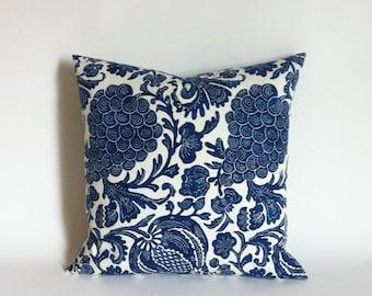 11 Sizes: One Indigo Dark Blue P. Kaufmann Batik Floral Zipper Pillow Cover Blue Lumbar cover 12x24 24x24 26 inch Designer pillow cover-USOF