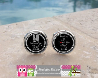 Personalized I loved you first Cufflinks and or Tie Clip, Father of the Bride, Mens, Daddy, Dad, Papi,Wedding Cufflinks,Cuff links