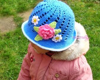 Crochet girl Hat, Blue Cloche hat for children, newborn with pink flower, Spring hat
