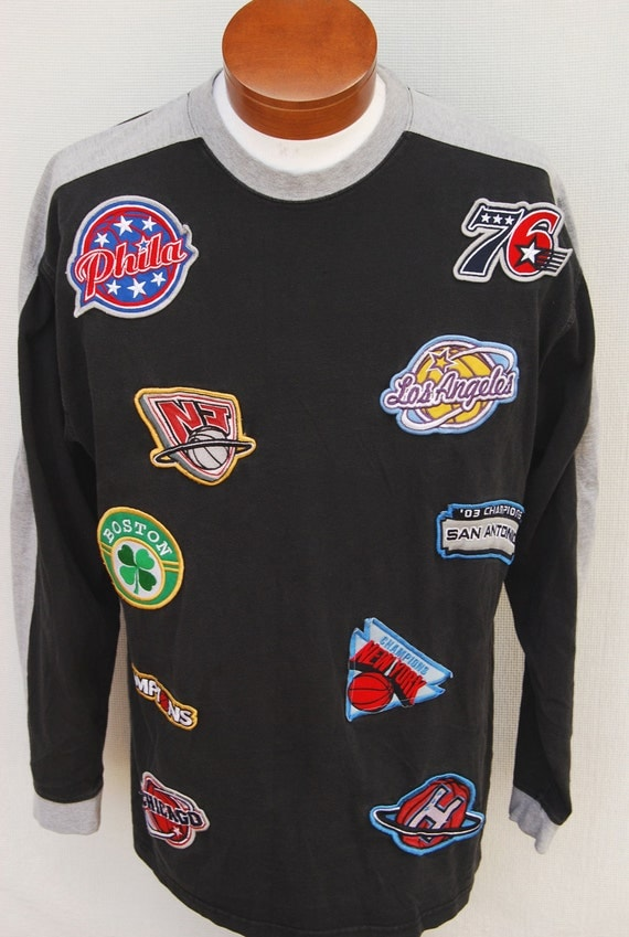 Retro All Star Nba Patches Shirt Mens Long Sleeve Crew Fnf
