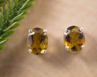 Golden Green Tourmaline Sterling Silver Earrings