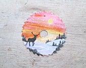 Hand Painted Sawblade - Sunset Painting - Winter Scene Painting - Deer Silhouette Painting - Nature Painting - Painting on a Sawblade