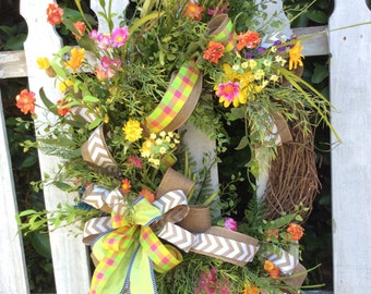 Summer Wreath ,door Wreath, Wreath For Door, Summertime Wreath, Summer Door  Wreath
