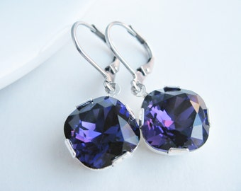 Deep purple earrings, simple Swarovski earrings, royal purple crystal sparkle, special occasion ear rings, handmade