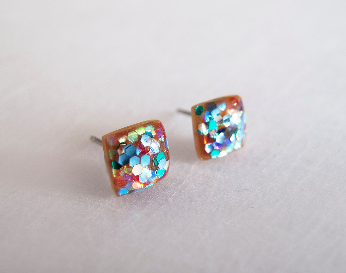 multicolor sparkly square stud earrings hypoallergenic