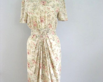 Pastel Flower Dress, Watercolor Botany Dress, Romantic Roses Spring Summer Dress, M L