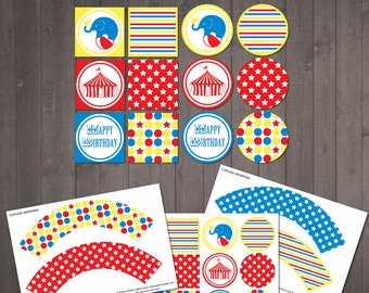 PRINTABLE Circus Cake Toppers and Wrappers - INSTANT DOWNLOAD for a circus theme party