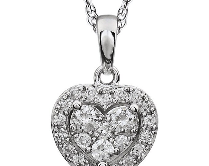 "14kt White 3/8 CTW Halo-Styled Diamond Heart 18"" Necklace"