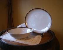 Vintage Favolina, Serving Platter and Bowl, Poland, Creamy White, Rustic, Chocolate Brown, Shiny Gold Rim, Retro, Mod Tableware, Mix Match