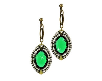 STUNNING Downton Abbey Vintage Style Classic Elegant Jewelry, Dangle CLIP Earrings OR Hook,Drop Pendant Earrings Sophisticated Emerald Green