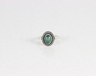 Sterling Silver Green Jasper Ring  size 6 3/4