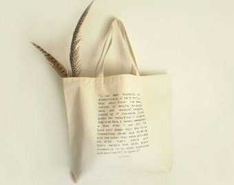 Literary Tote, Canvas Book Bag, Book Lover Gift for Her, Eudora Welty Literary Quote, Reading Tote Bag, Large Canvas Shopper, Book Club Tote