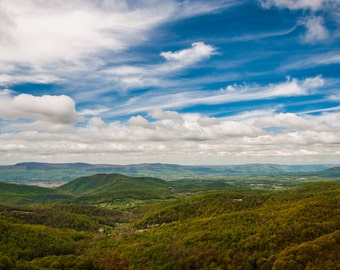 Spring colors in the Appalachian Mountains and Shenandoah Valley, Shenandoah National Park - Photography Fine Art Print or Wrapped Canvas