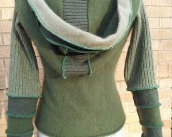 "Upcycled hooded sweater  in shades of green.  ""Sinead."""