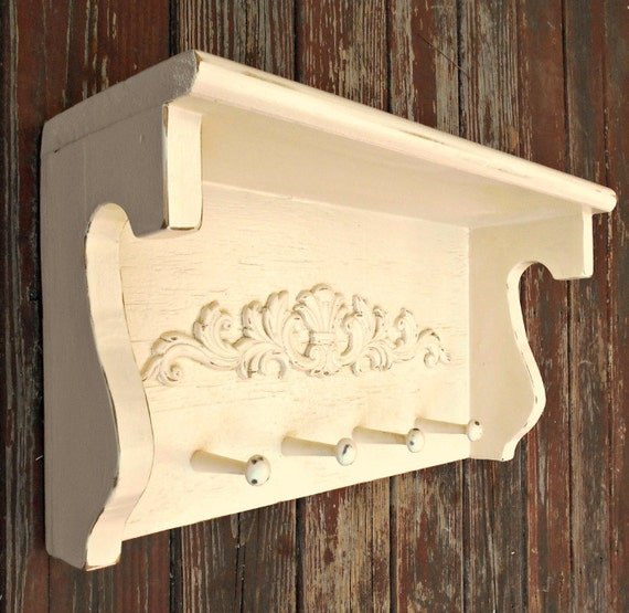 Decorative Wall Shelf With Hooks Mantle Rack : Free shipping wall shelf mantle coat rack wooden