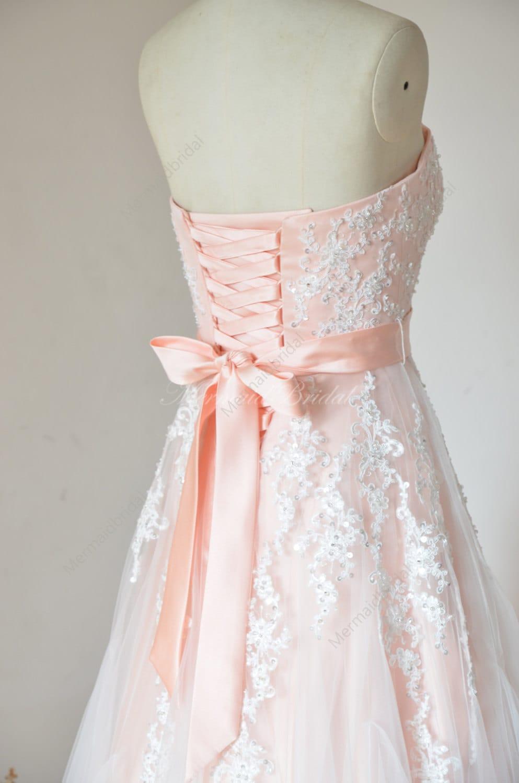 Blush Tulle Wedding Dress : Simple blush a line tulle lace wedding dress by mermaidbridal