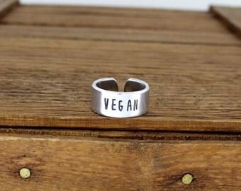Vegan Aluminum Adjustable Ring