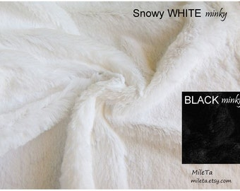 Snowy WHITE or BLACK smooth Minky fabric with LONG hair (~10 mm), ultra soft cuddly velboa microfiber fabric.