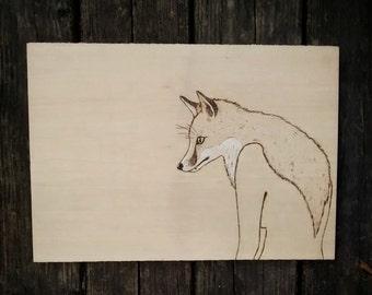 Lady into Fox - Original wood burning artwork - A surreal portrait of metamorphosis