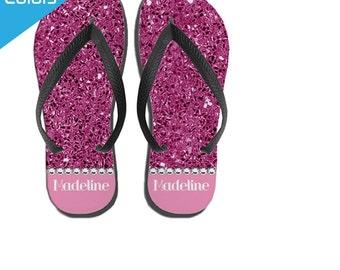 Beach Flip Flops, Girls Flip Flops - Pink Glitter Custom Flip Flops, Girls Sandals