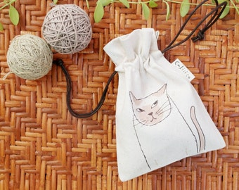 Drawstring pouch hand print with siam cat