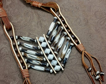 native american breastplate, festival jewelry, tribal breastplate necklace, leather necklace N036