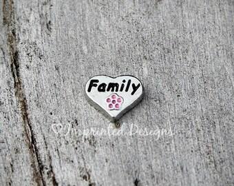 Family Heart Floating Charm for Floating Locket / Memory Locket / Loving Locket