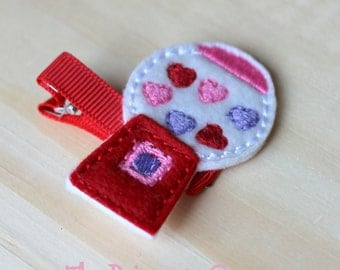 Bubblegum Hair Clip - Valentine's Day Clippie - Hearts - Pink and Red - Feltie