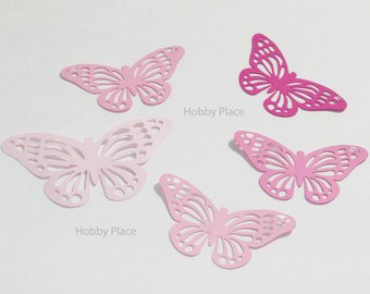 "Paper Monarch butterfly die cuts /pink colors / 15 pc. set /   size from 1.5"" to 5.5"" / big butterfly die cuts"