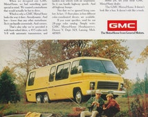1974 GMC Motorhome Ad, Vintage Advertising Yellow Breaking Bad RV General Motors Auto, Father & Son Fishing Photo Print, Wall Art Decor