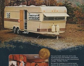 1973 Holiday Rambler RV Print Ad Vintage Advertising 1970s Travel Trailer Photo Wall Art Decor