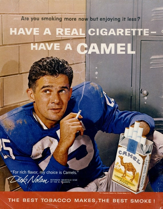 1960 Camel Cigarettes Ad Football Player Dick Nolan Photo