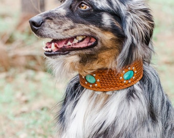 Leather Dog Collar // Genuine Turquoise Hand Stamped Shearling Lined