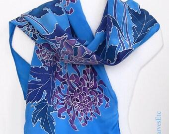 Blue painted silk scarf, Handpainted floral silk crepe de chine scarf, Purple chrysanthemums blue silk scarf, Fall Scarf, Artist silk