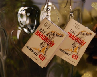 Fahrenheit 451 Book Earrings