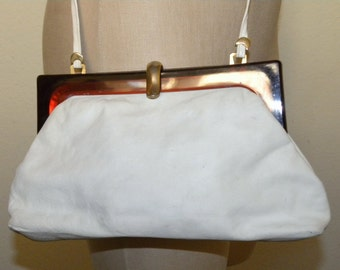 1970s 70s Purse / White / Leather / LUCITE / handbag / shoulder bag / Clutch / made ITALY / CLASSIC / Disco / Vintage