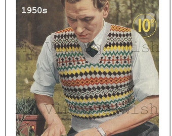1950s Man's Fair Isle Pullover Vintage Knitting Pattern – PDF Instant Download