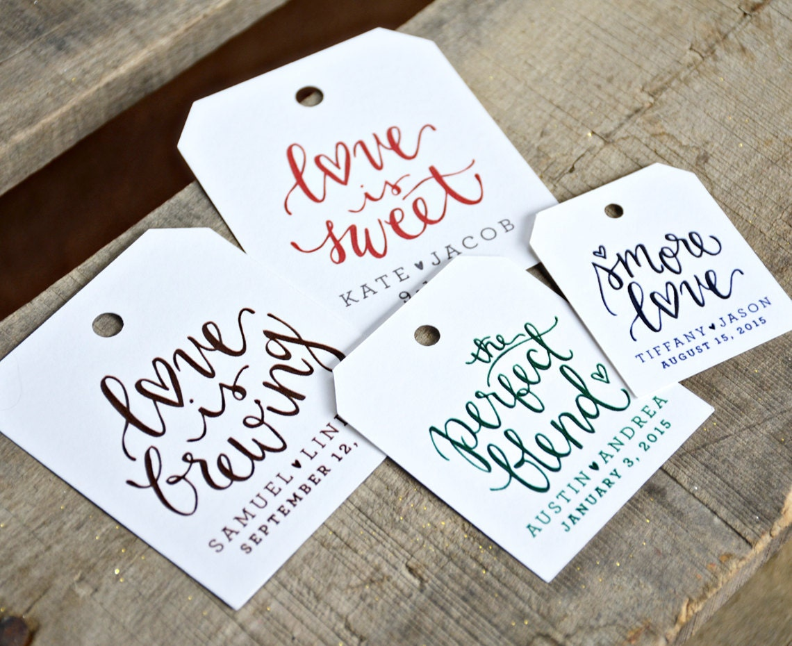 Wedding Favor Tags With Photo : 24 Pre Printed Favor Tags for Wedding Favors Dinners