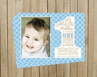 Quatrefoil Blue First Birthday Invitation, One, Boy or Girl, Printable, Custom Digital File