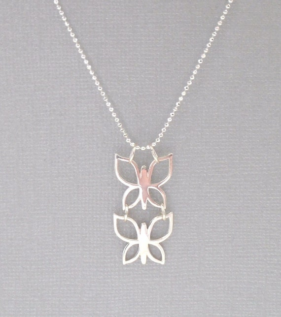 Soulmates necklace sterling silver butterfly by piccreations for The universe conspires jewelry