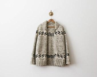 vintage 70s cowichan cappuccino wool woven jacket