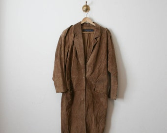 vintage 90s leather suede pilot trench coat